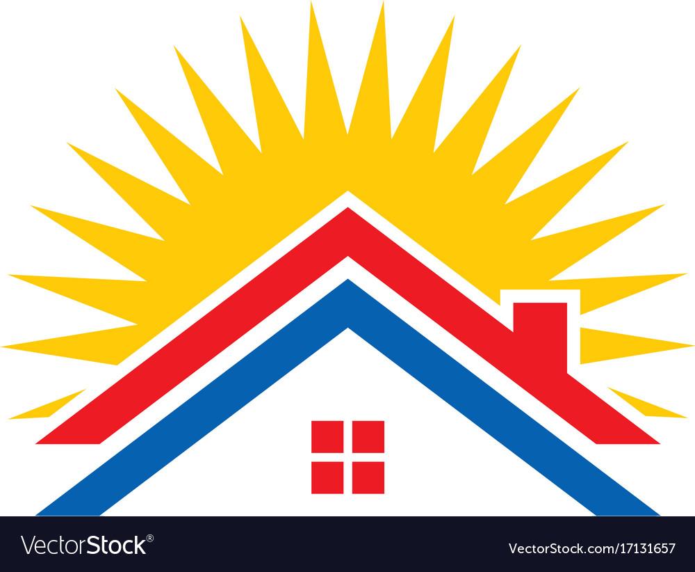 Roof house solar energy logo
