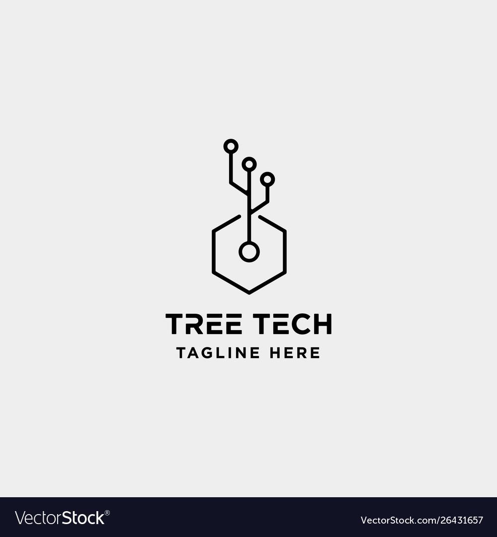 Tree technology logo design nature tech symbol