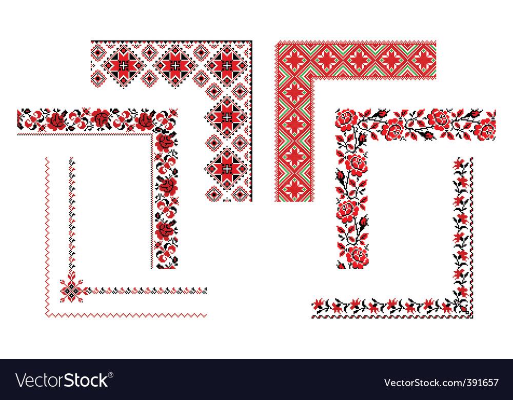 Ukrainian embroidery corners vector image