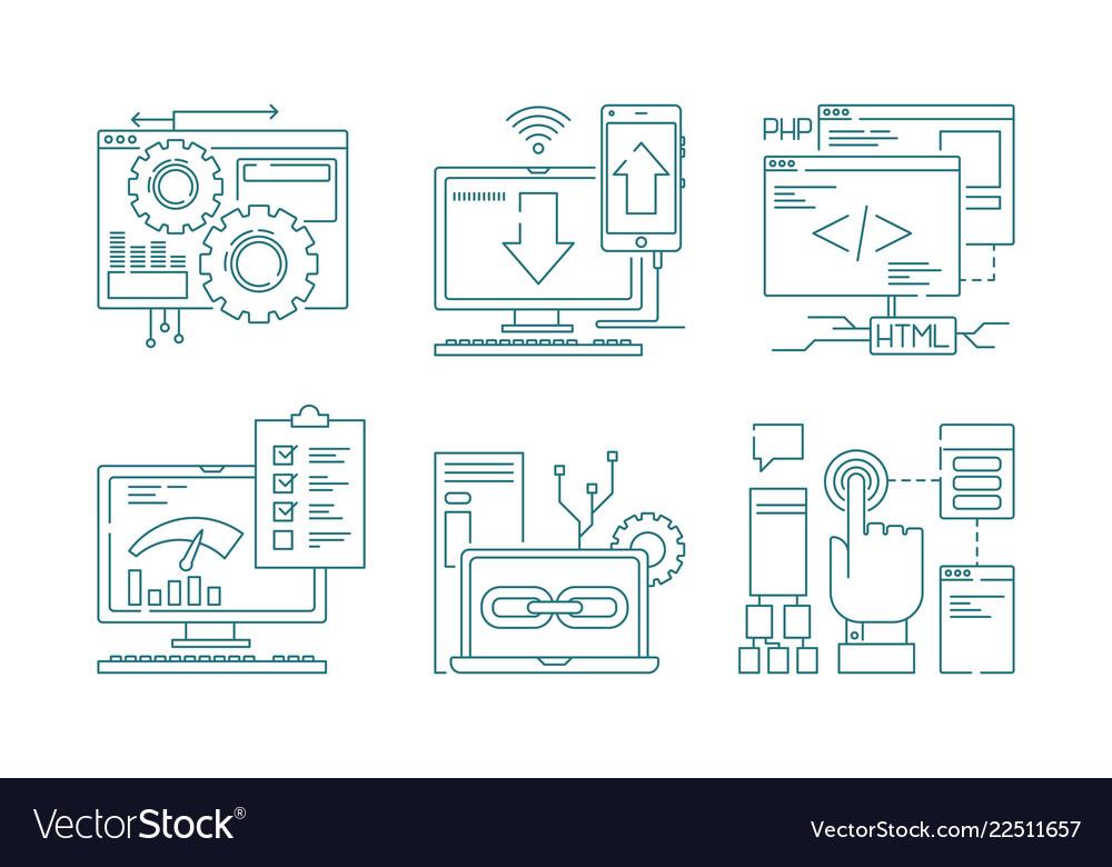 Web development line icons seo mobile layout