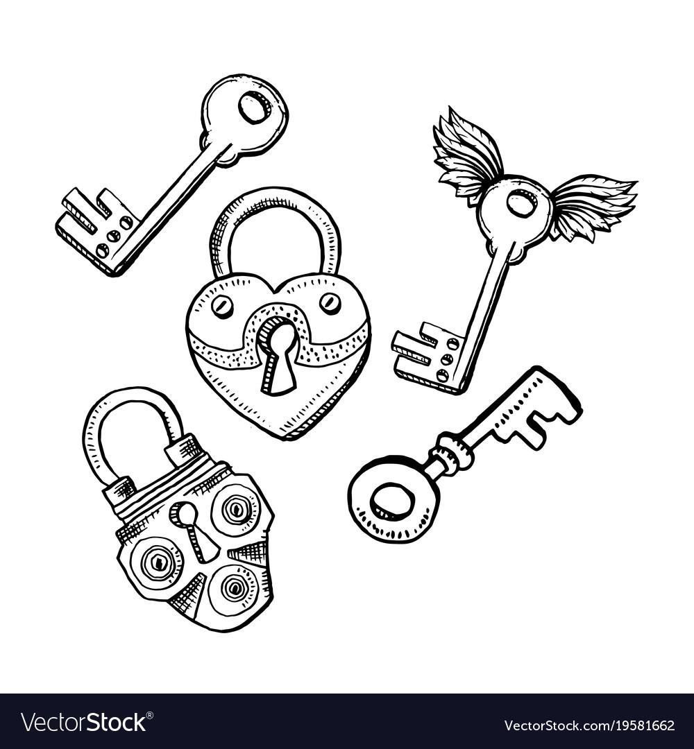 door locks or latch and keys in sketch style vector image Old Key