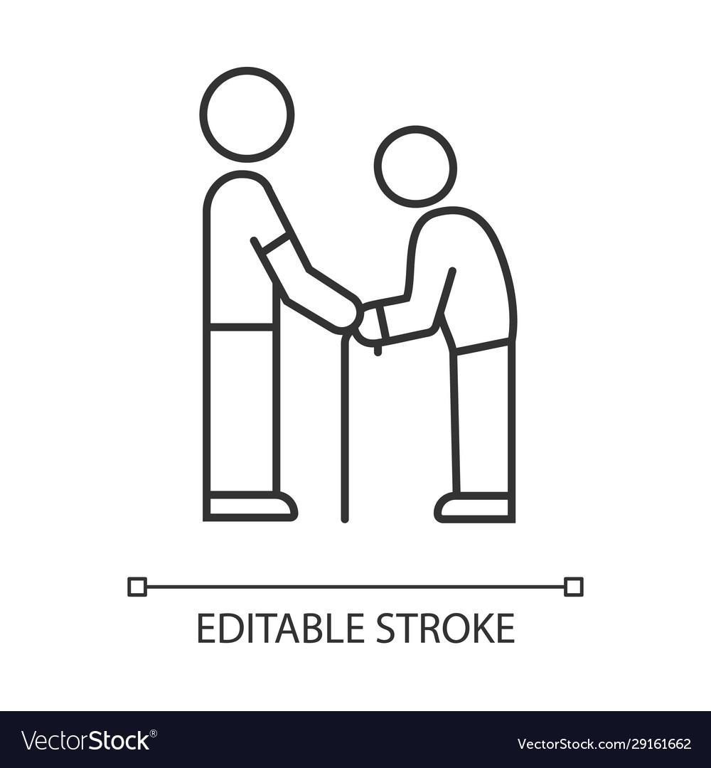 Elderly people help linear icon volunteer