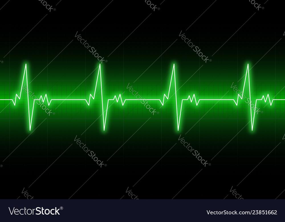 Heartbeats cardiogram ekg heart line green