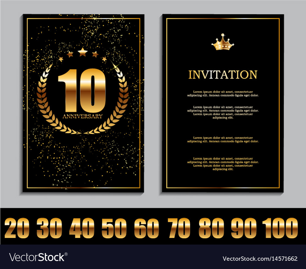 Luxury template set of anniversary celebration vector image