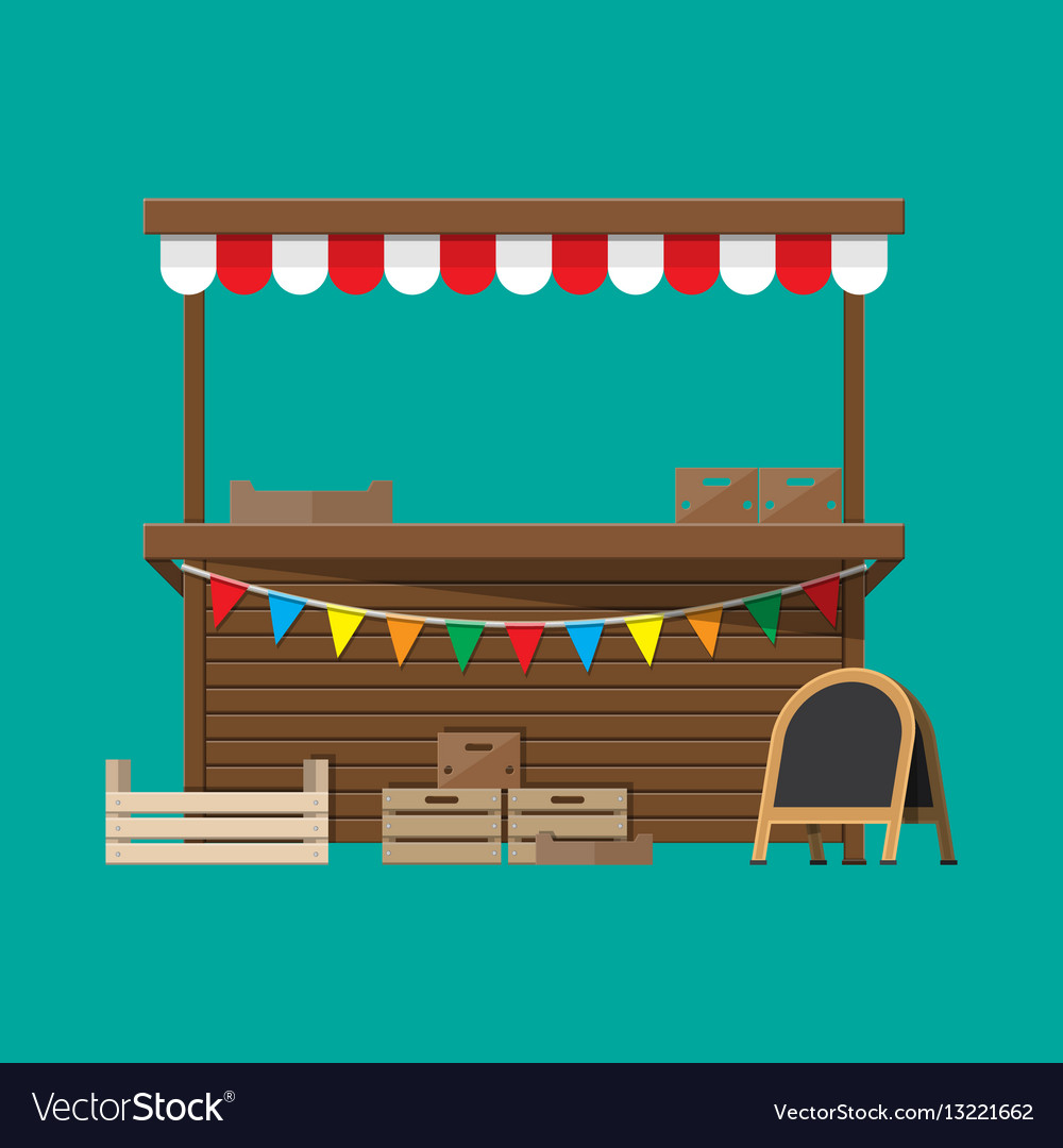 Market food stall with flags crates chalk board