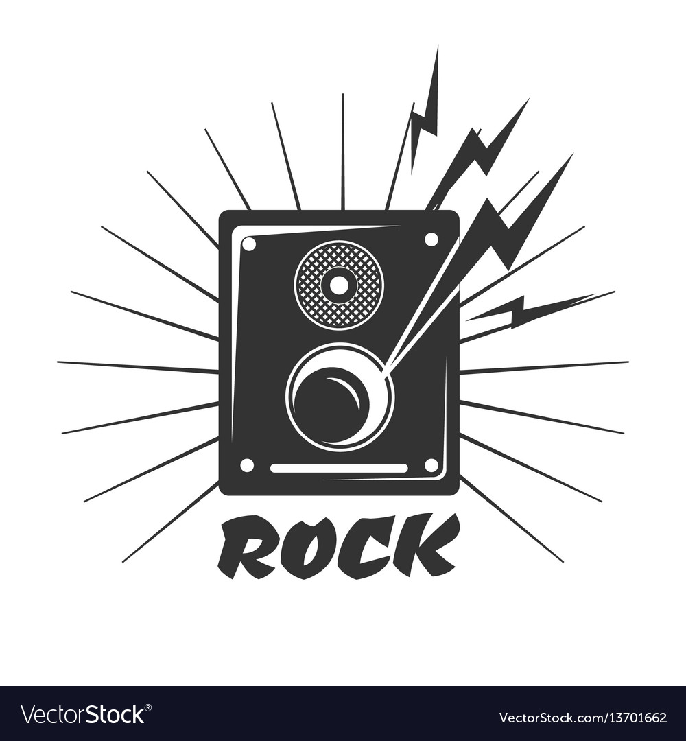 Rock music loud speaker logo in black and white