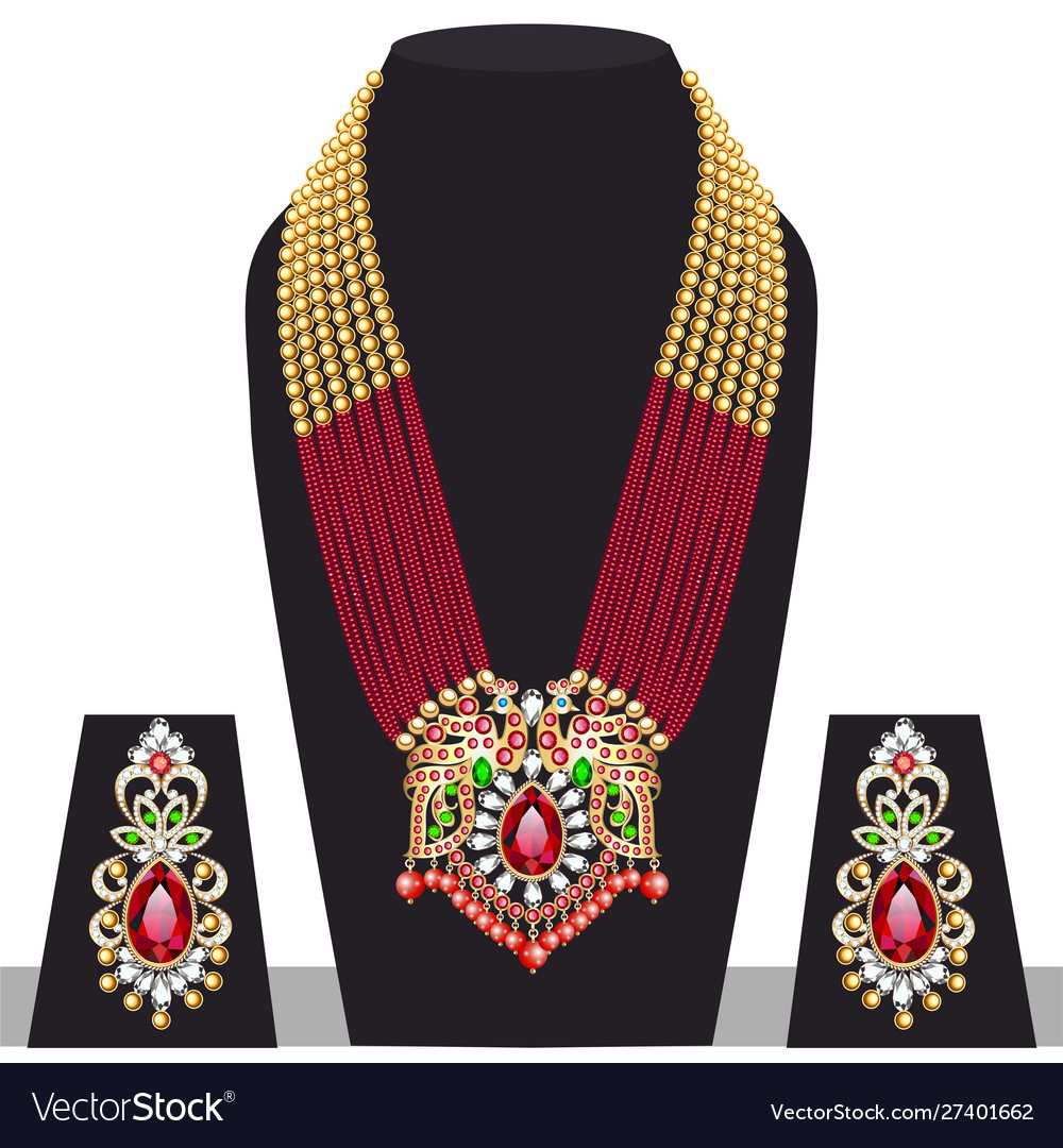Set Indian Peacock Wedding Necklace And Royalty Free Vector