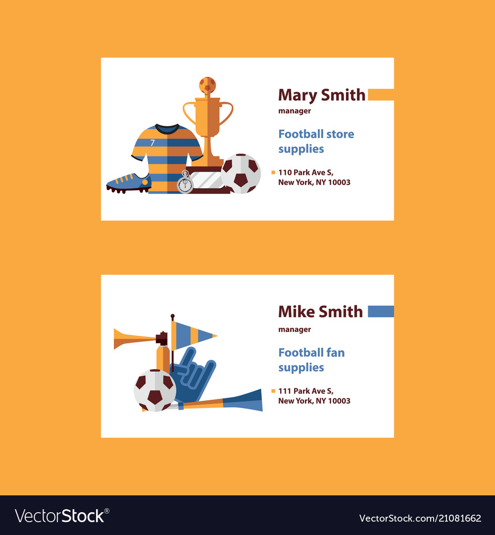Set with football business cards template