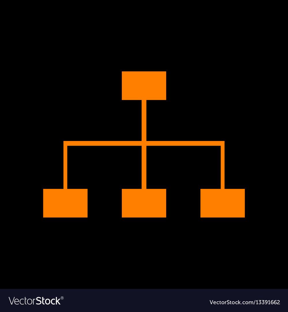 Site map sign orange icon on black background