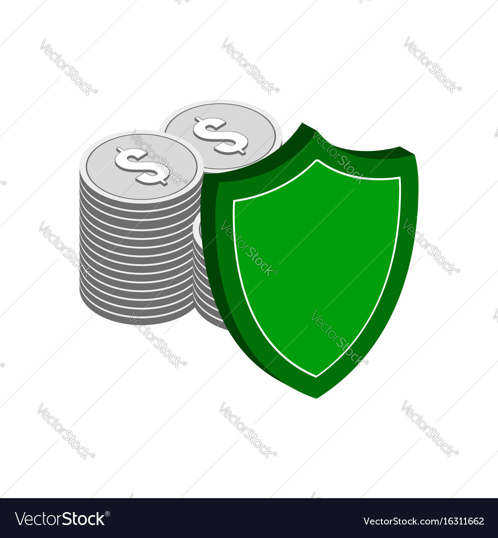 Stack of silver coins with shield finance vector image