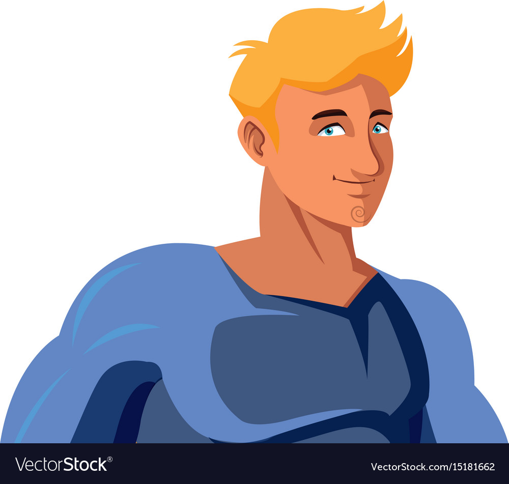 Superhero cartoon suit disguise power style vector image
