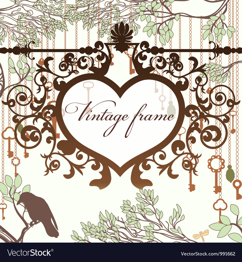 Vintage background with wrought heart frame and