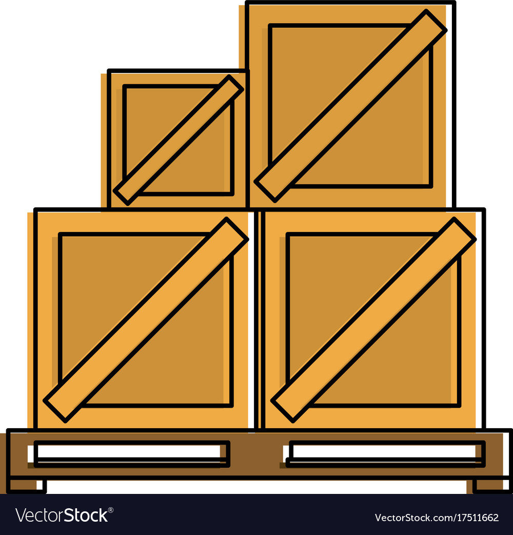 Pallets Shipping Delivey Icon Vector Image