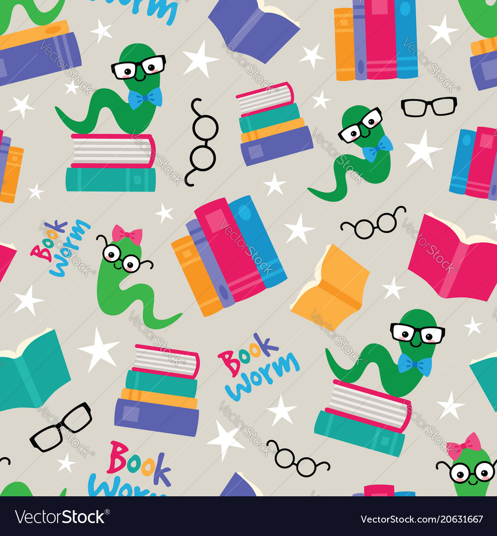 Book worms seamless pattern