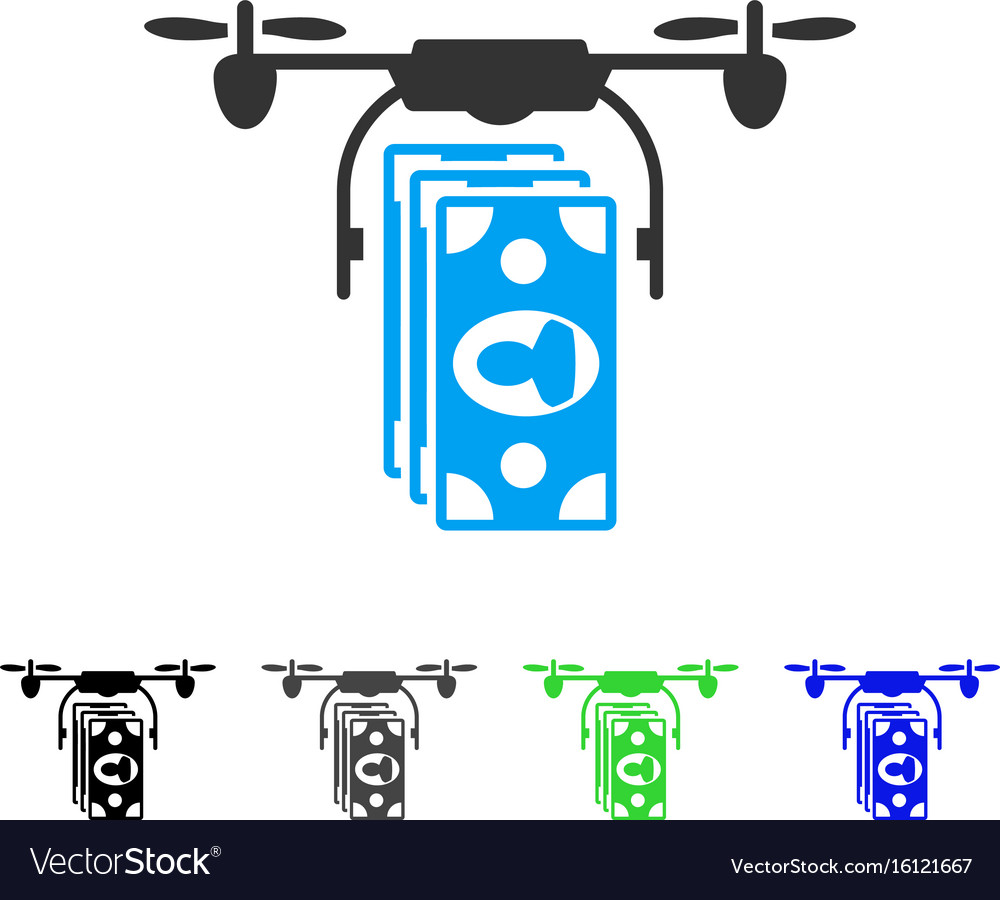 Drone banknotes payment flat icon