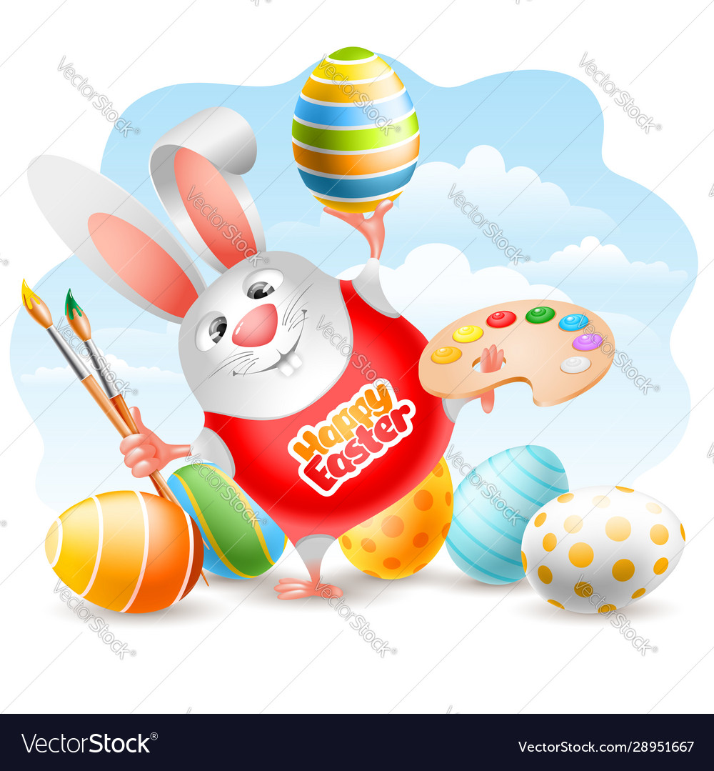 Easter bunny with art paint brushes palette and