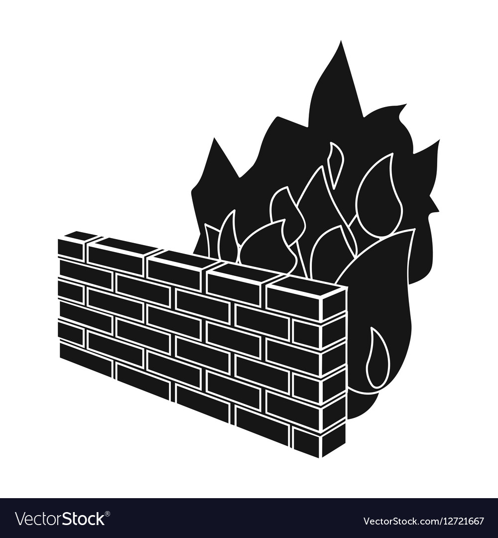 Firewall icon in black style isolated on white