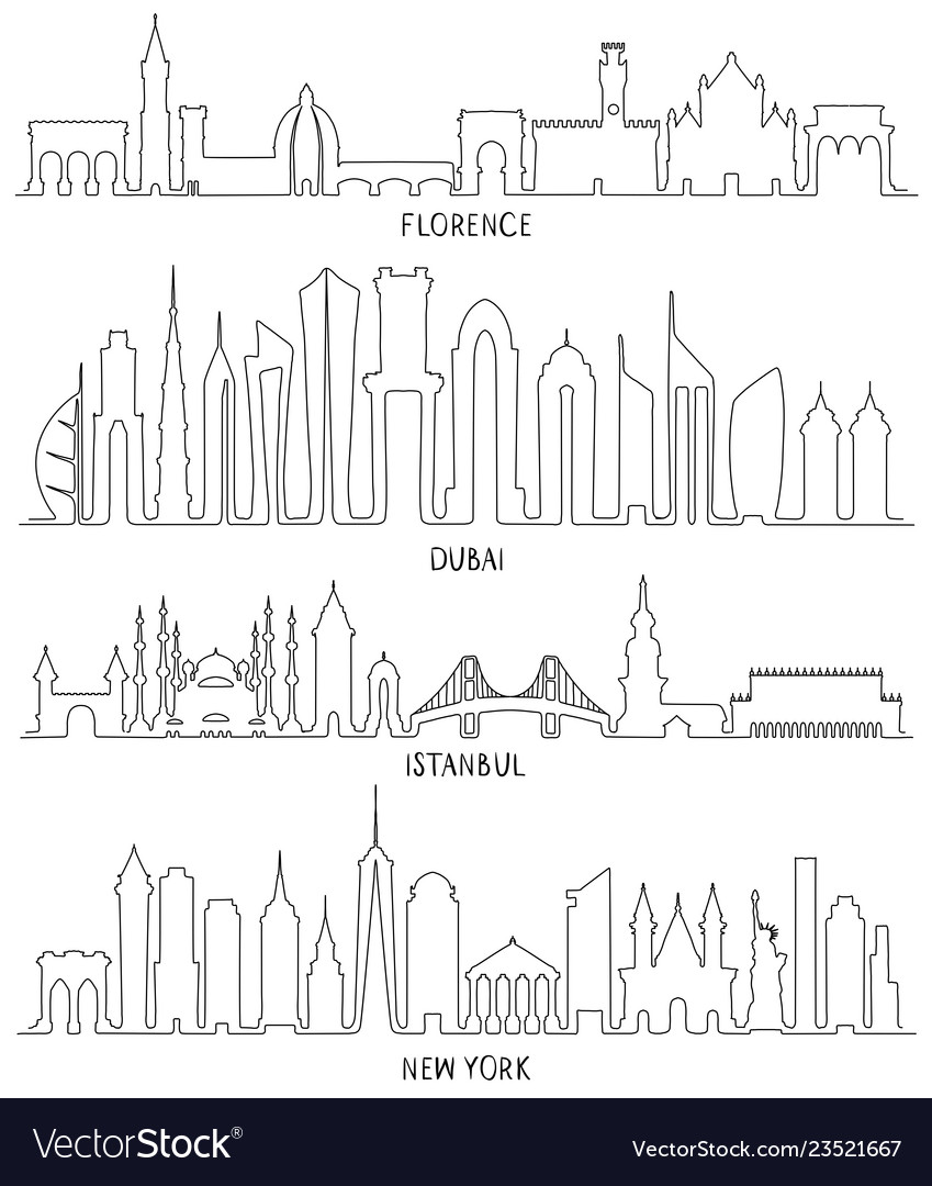 Florence dubai new york and istanbul vector