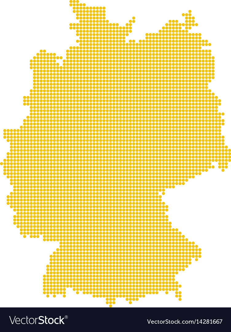 German map isolated dotted germany map yellow