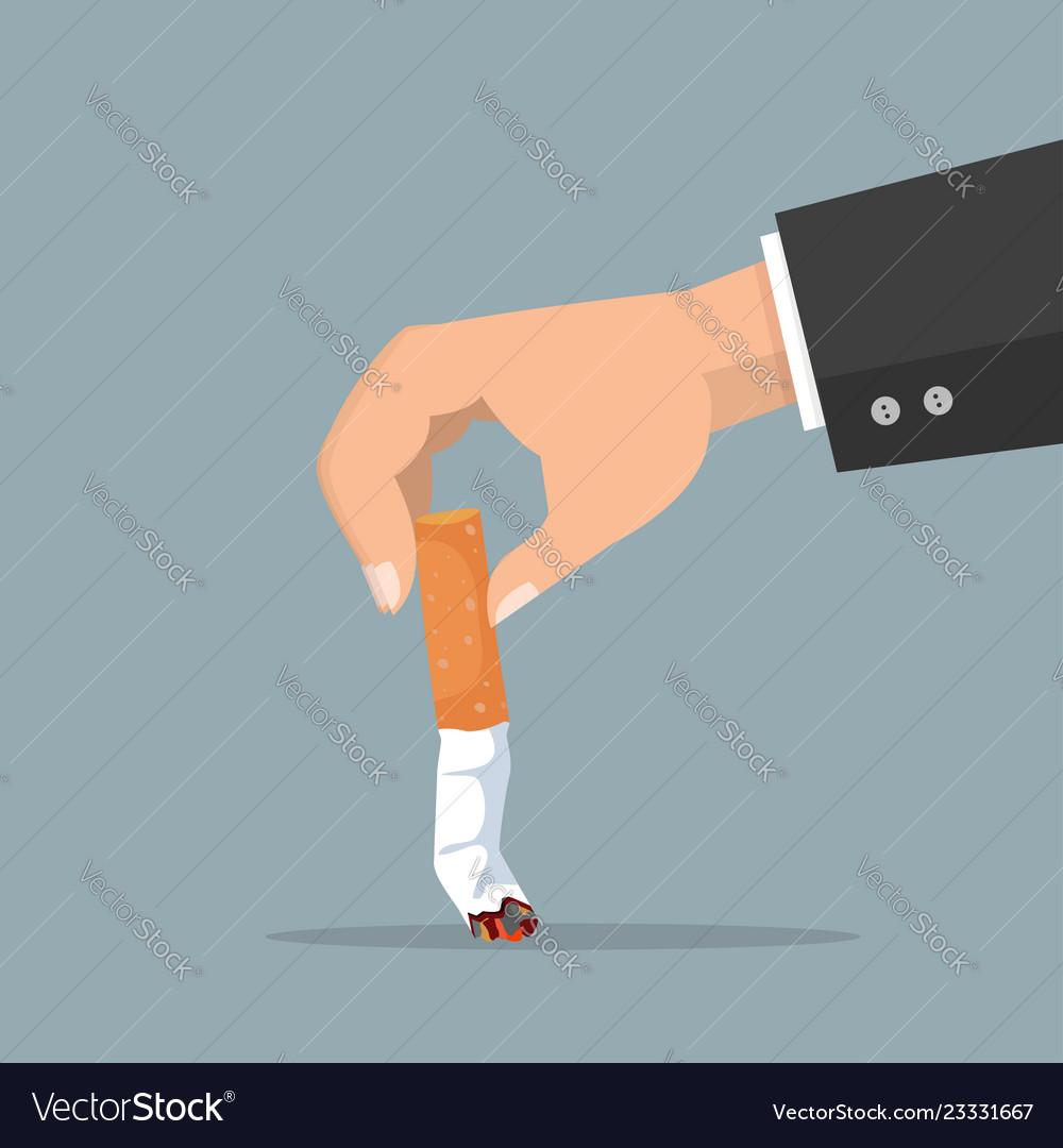 Hand extinguishing a cigarette butt