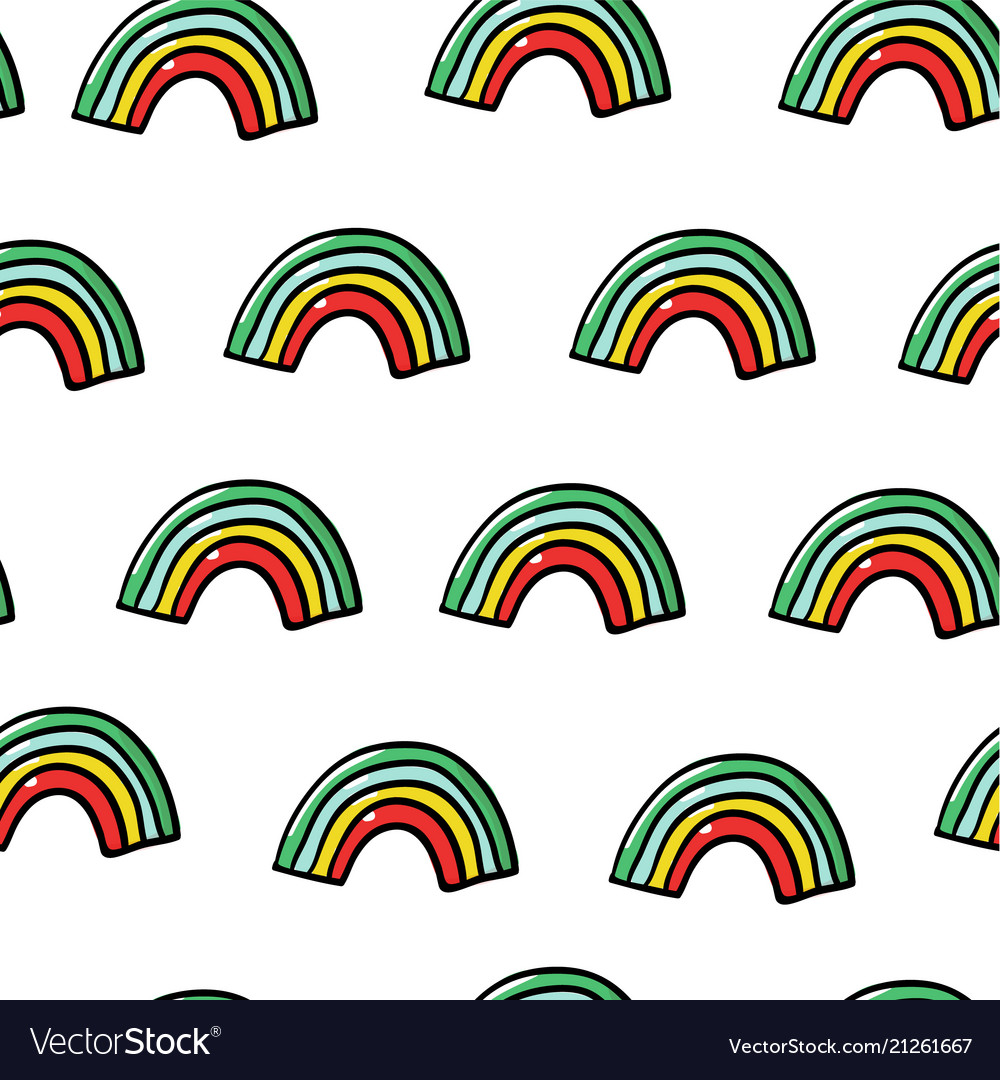 Kids hand drawn seamless pattern with rainbows