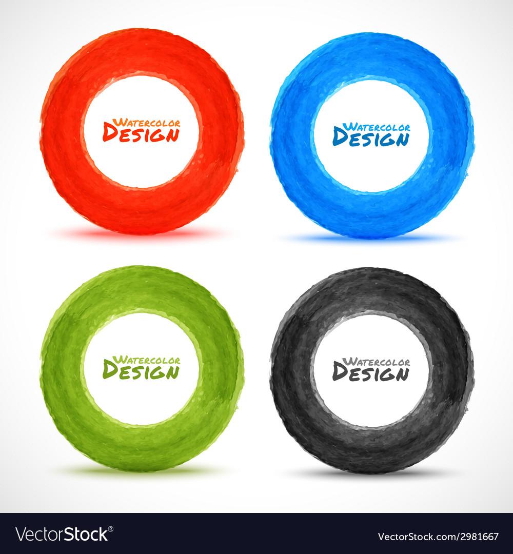 Set of Hand drawn watercolor circles