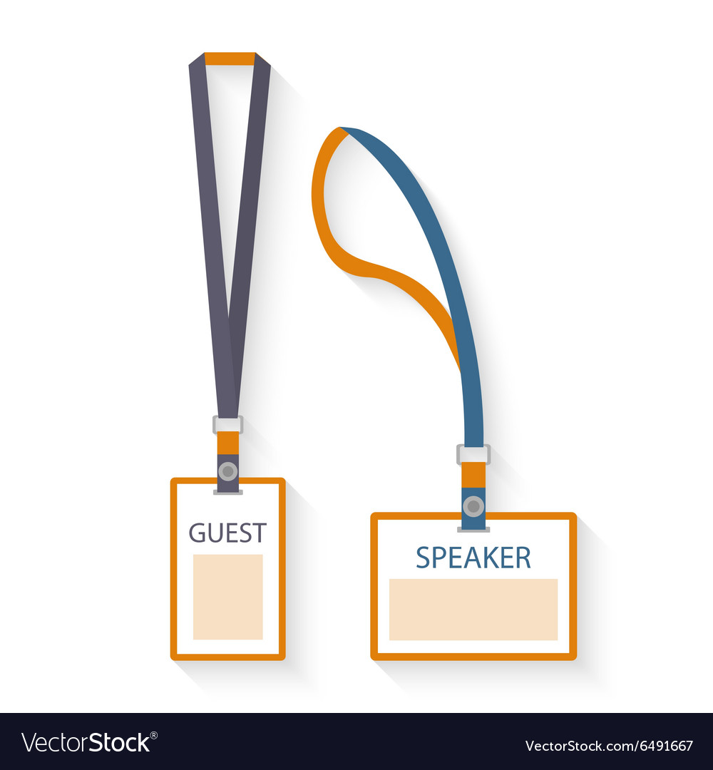 Template Flat Design Icons Of Lanyard And Badge Vector Image