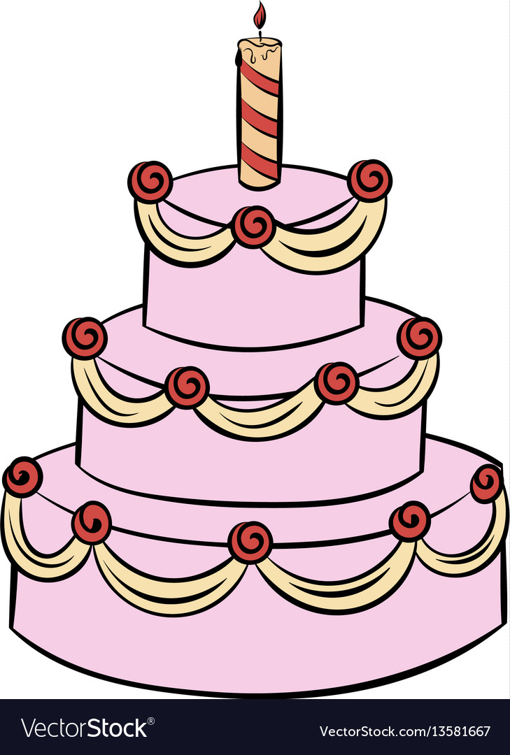 Tremendous Three Tiered Birthday Cake Icon Cartoon Royalty Free Vector Funny Birthday Cards Online Elaedamsfinfo