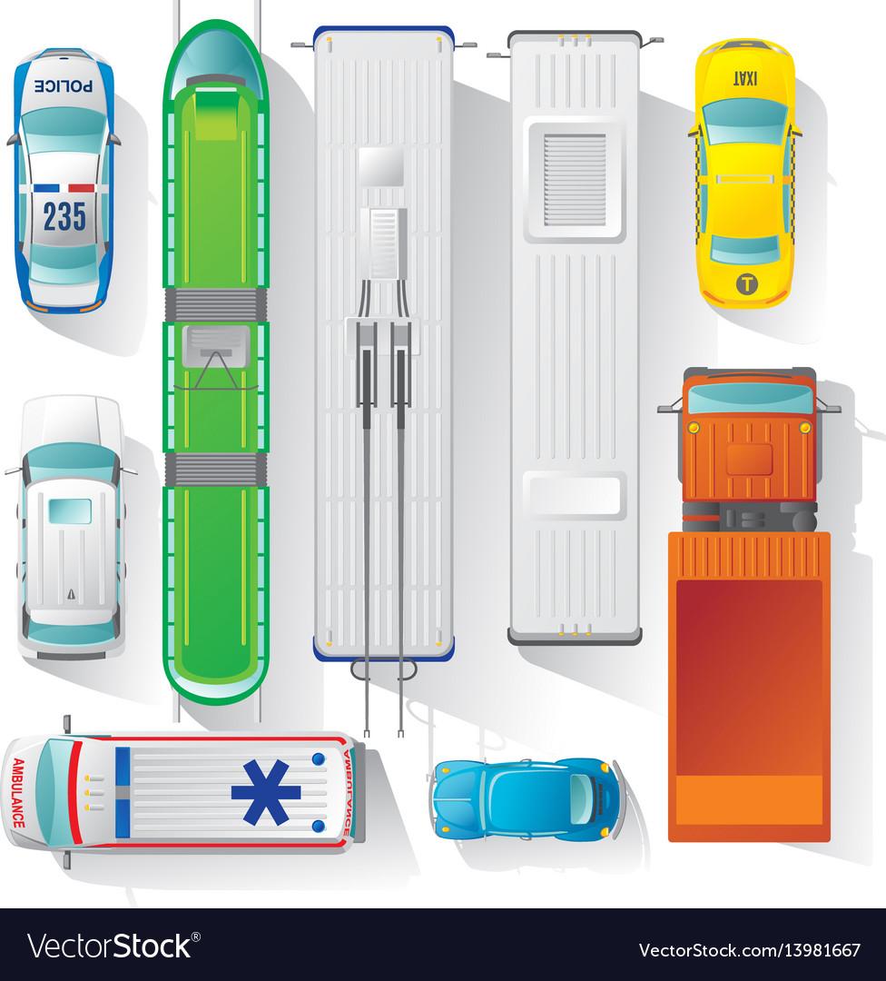 Top view city transport elements set