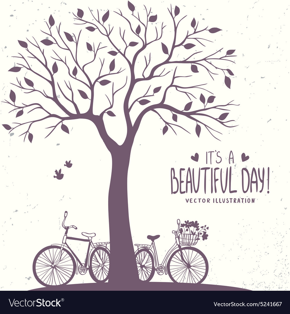 Tree and bikes vector image