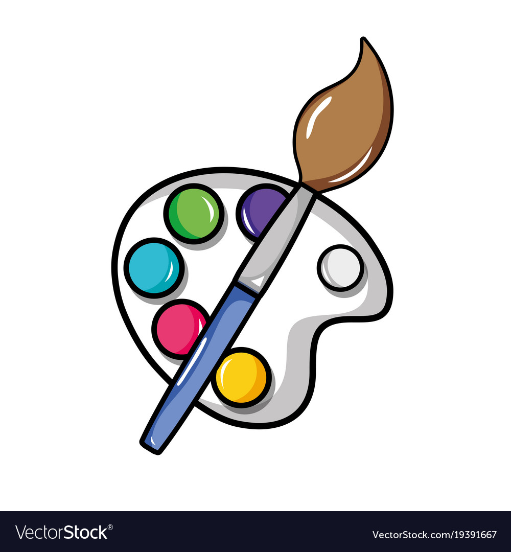 watercolor palette with paint brush object vector image  vectorstock