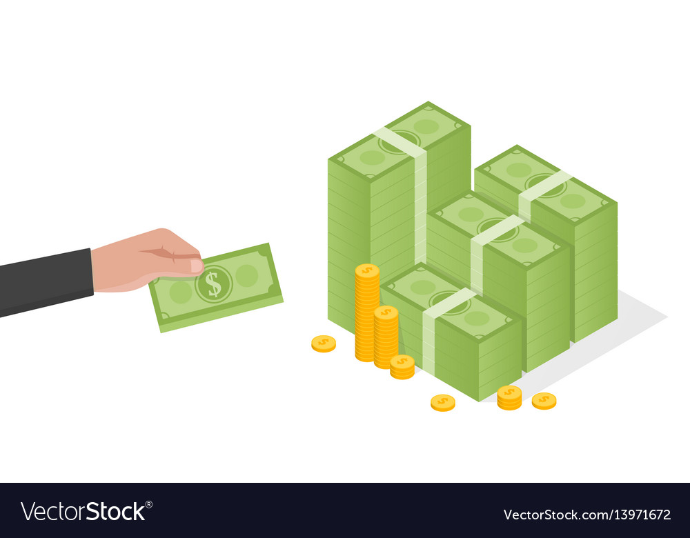 Businessman hand holds a stack of green dollars