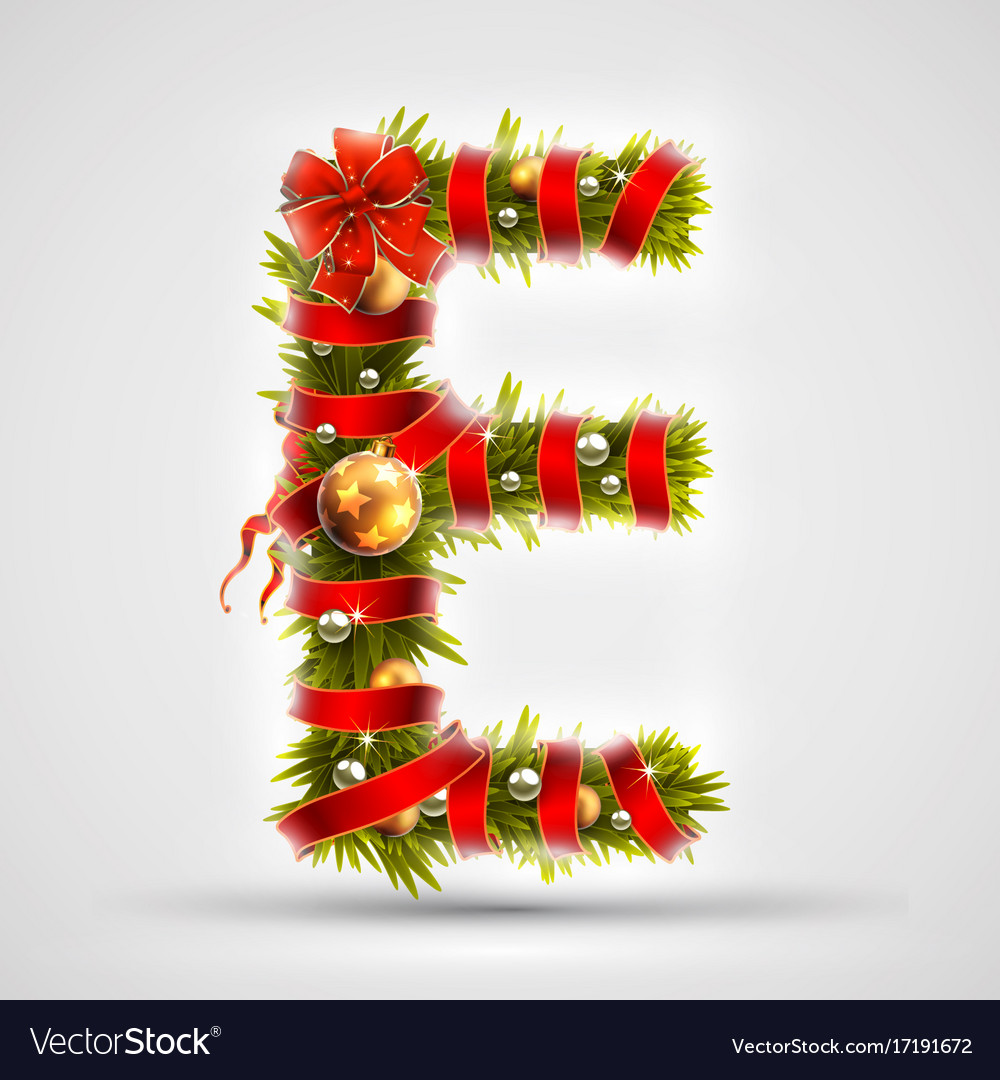 Merry Christmas Letter Y.Christmas Font Letter E Of Christmas Tree