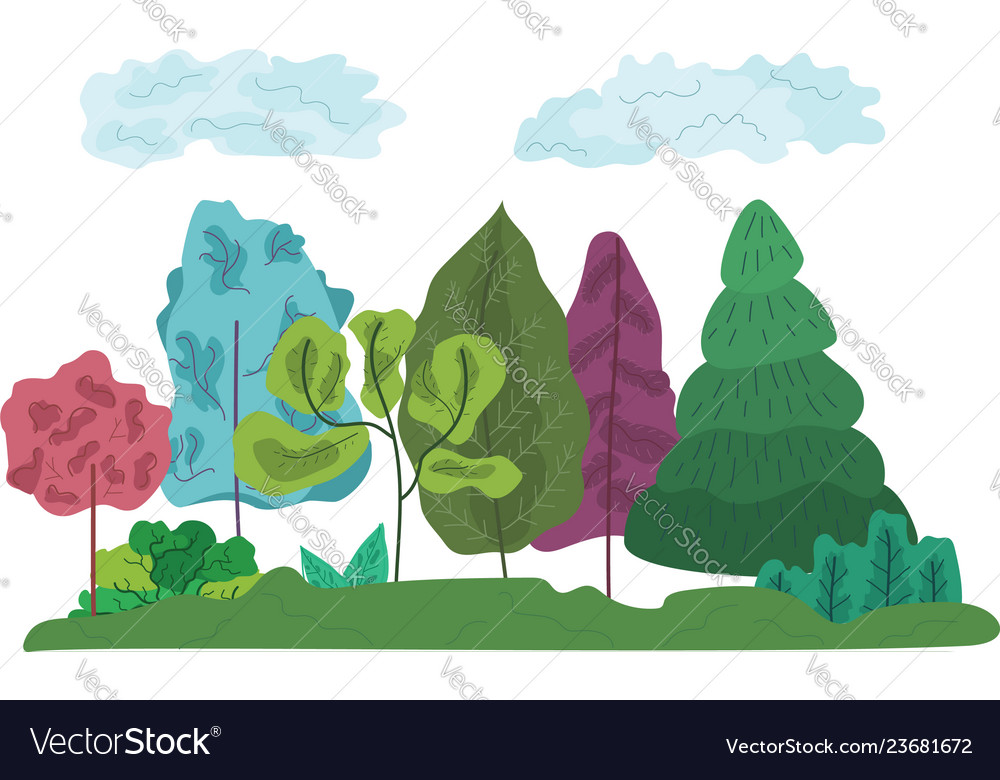 Colorful abstract trees and grass composition