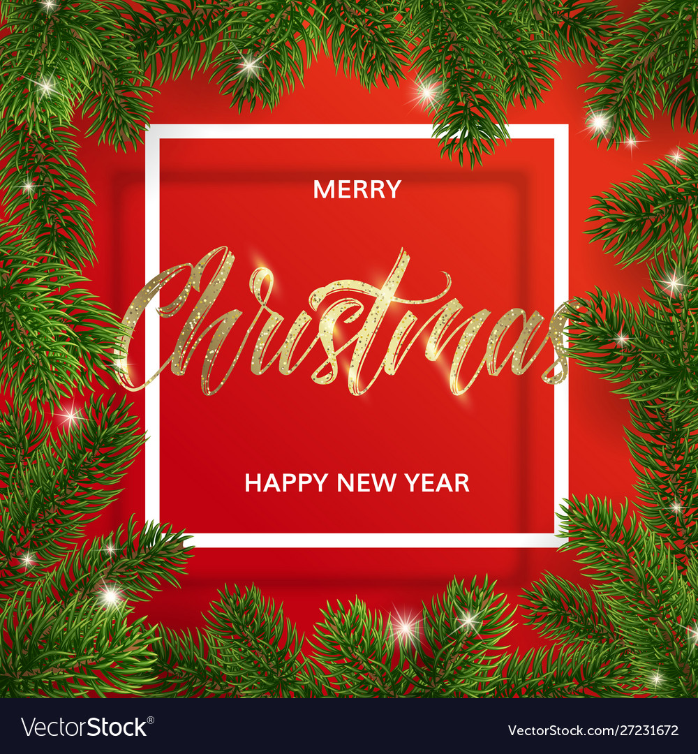 Frame christmas tree branches and golden text