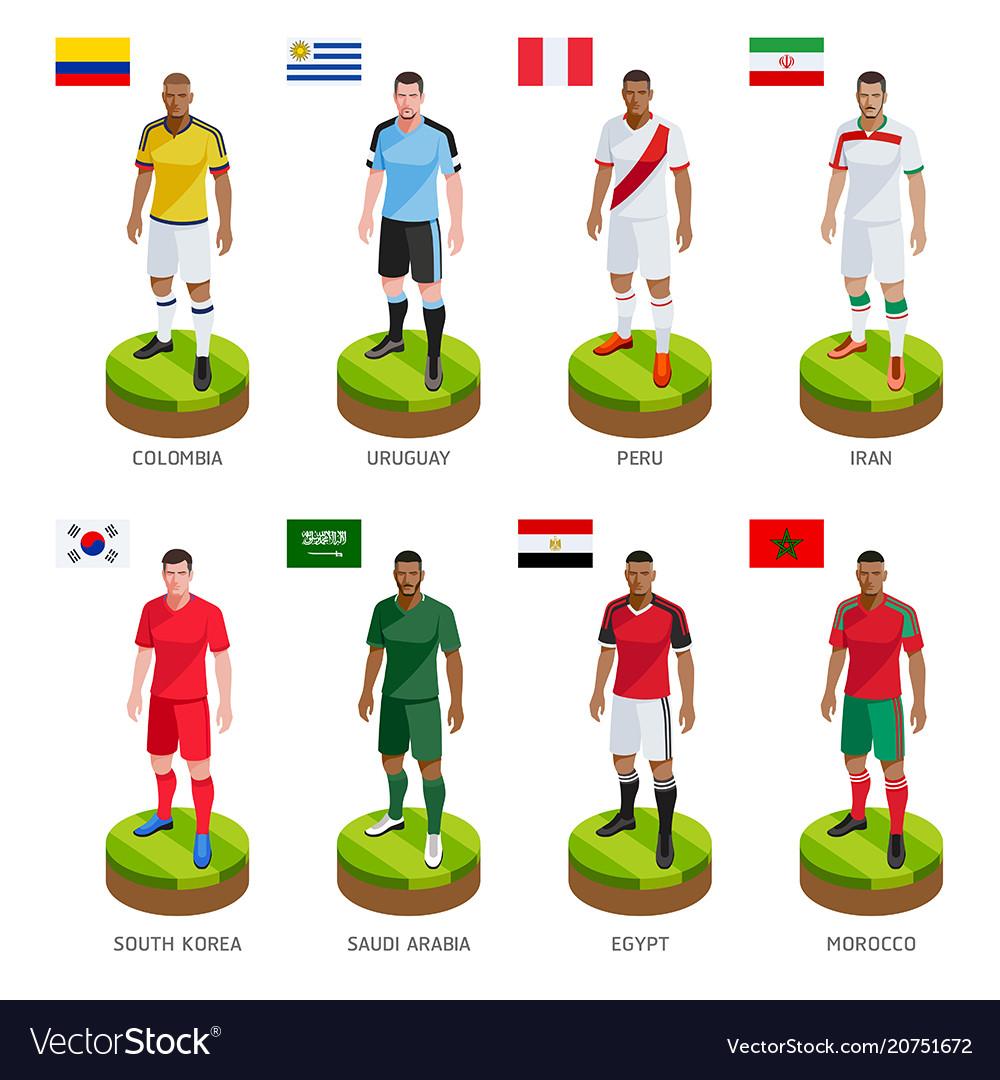 Group soccer football player jersey national world