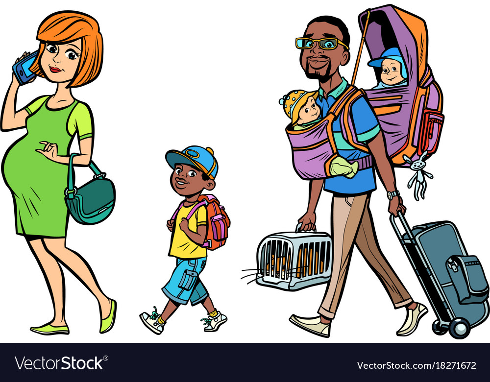 Multi ethnic family travelers mom dad and kids
