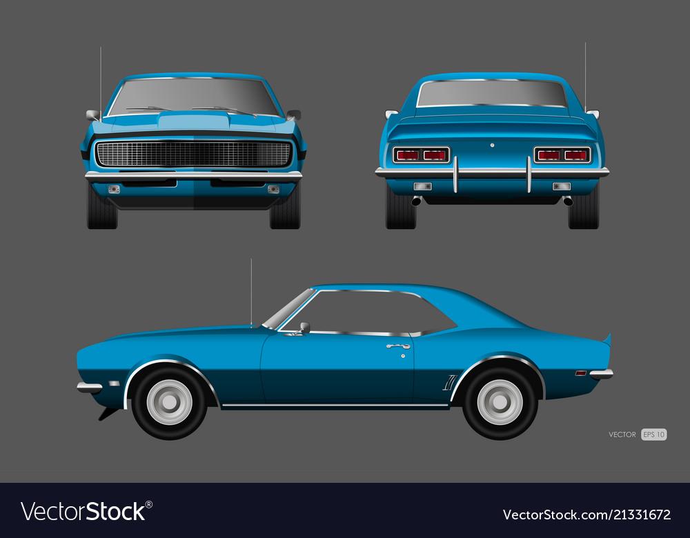 Retro car of 1960s american vintage automobile