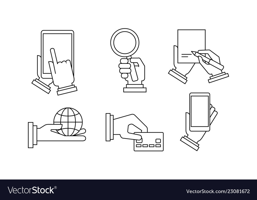 Set of 6 linear business icons human hands