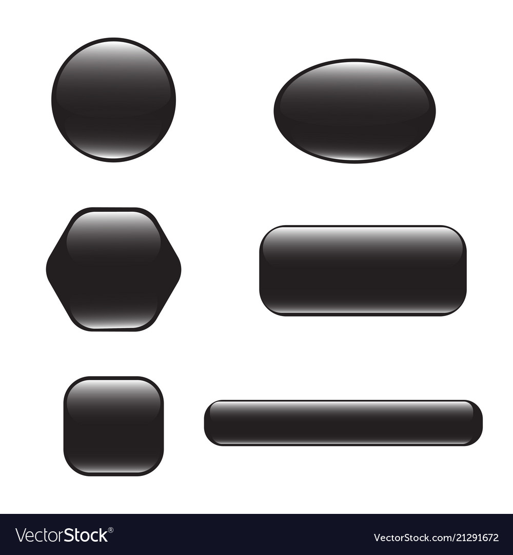 Set of black square and rounded button