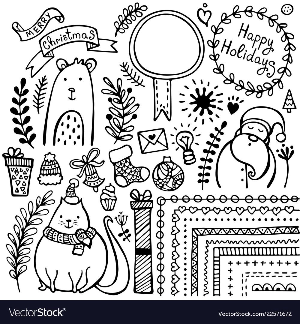 Genoeg Set of bullet journal doodle christmas elements Vector Image #UX33