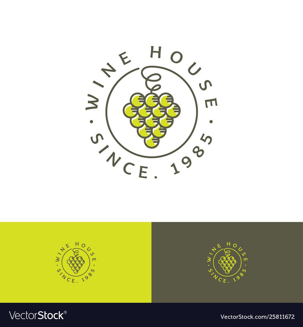 Wine house logo concept restaurant bunch grapes cu
