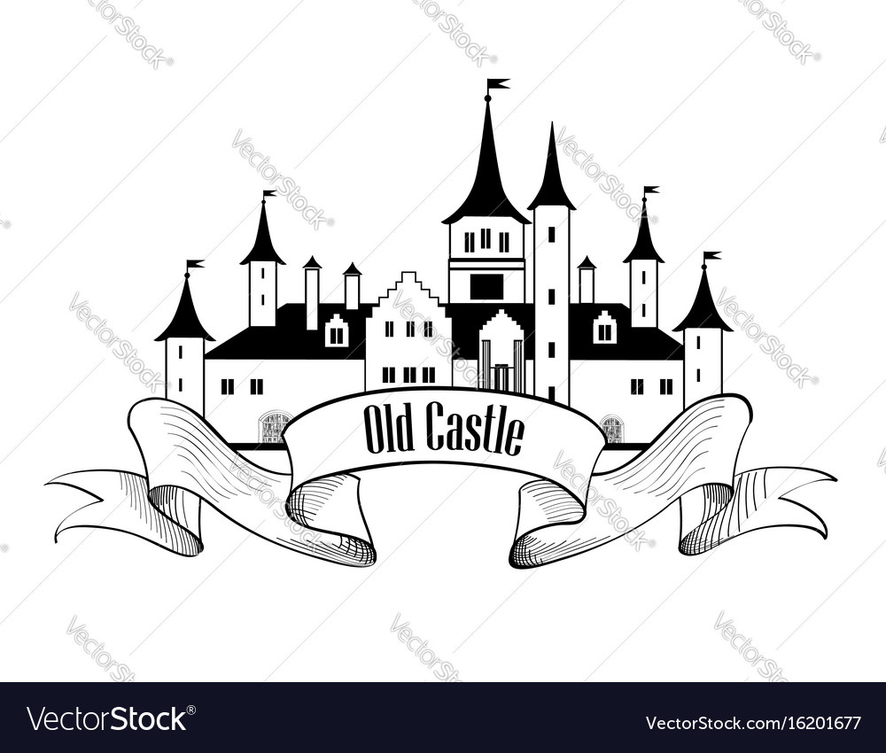 Castle building sign travel landmark label fairy