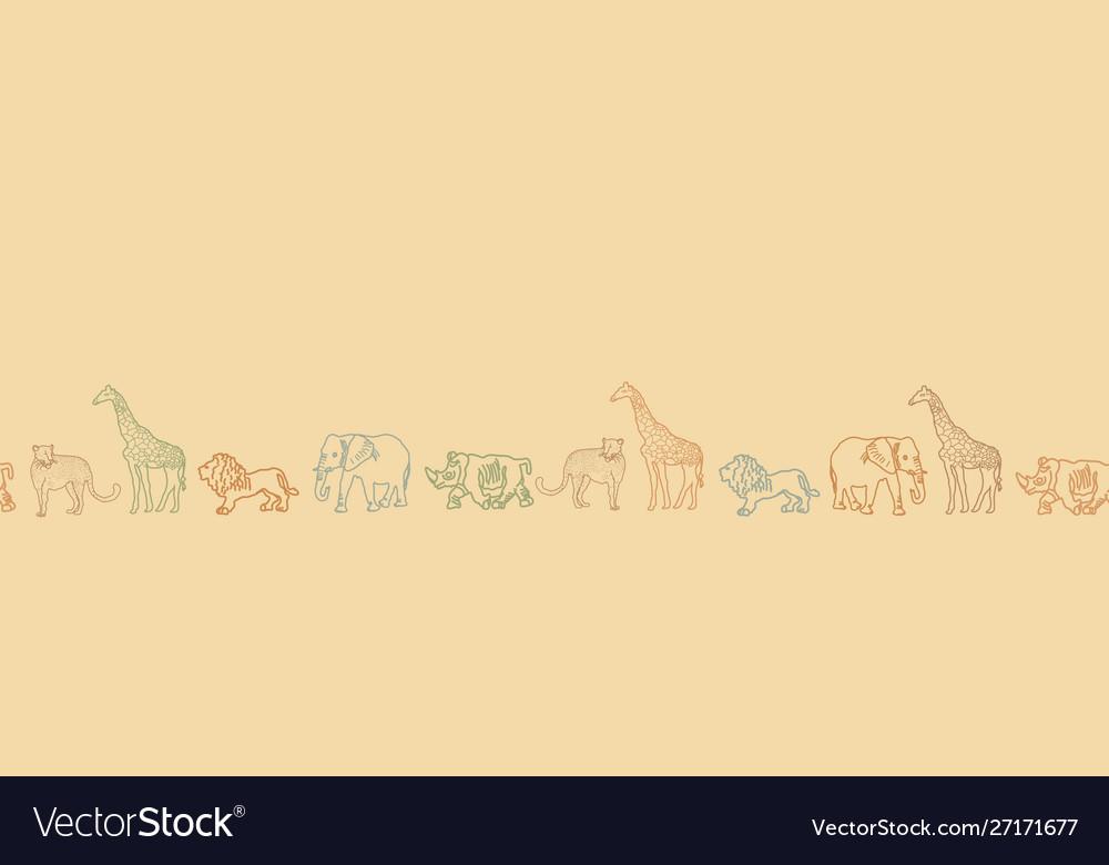 Cute hand drawn african animal safari seamless