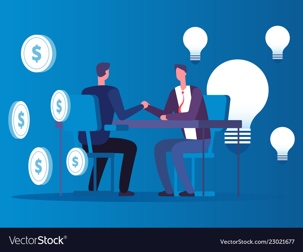 Exchange of ideas for money businessman buys