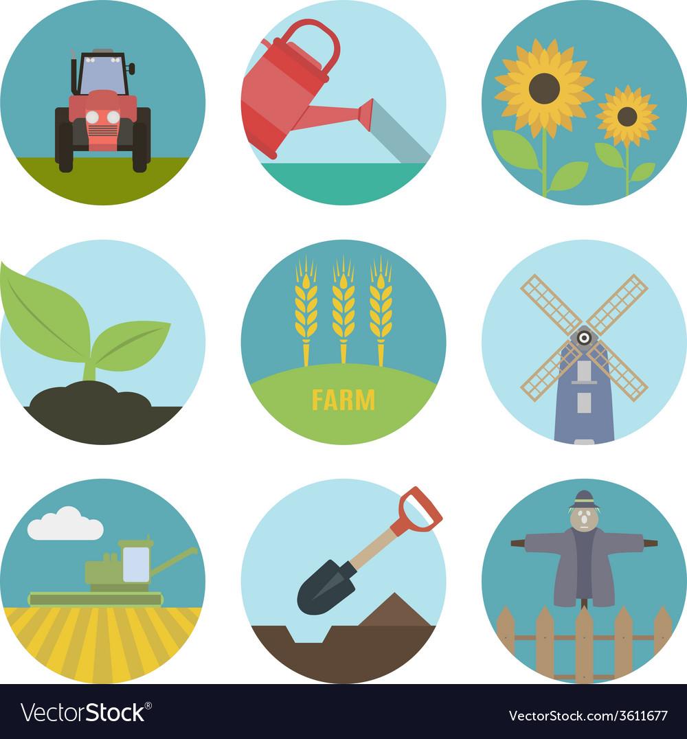Farm flat icons vector image