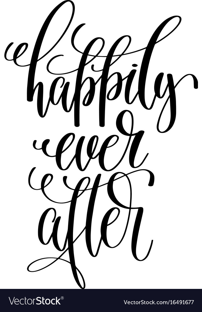 happily ever after black and white hand vector image