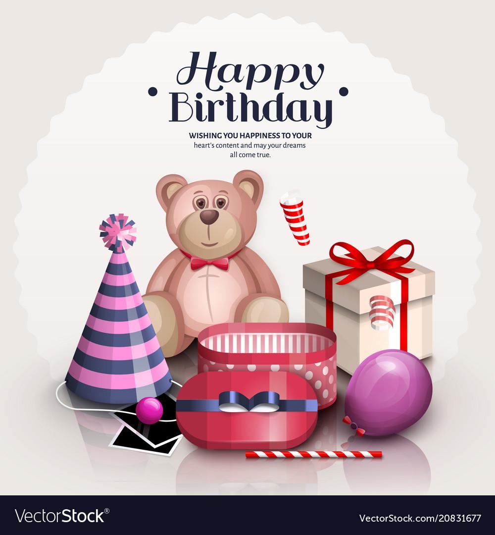Happy birthday greeting card vector image