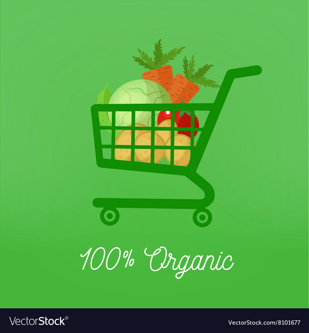 Organic Food Vegetables in Shopping Cart