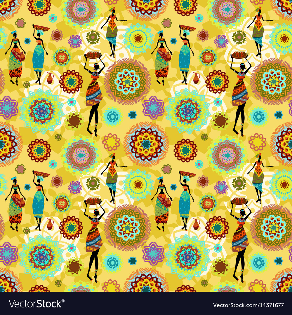 Seamless texture with ethnic pattern and lovely